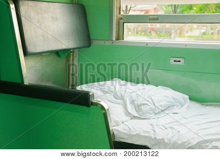 white bed in Interior train with copy space add text