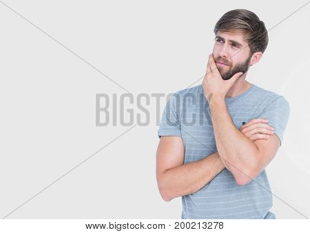 Digital composite of Portrait of Man thinking with grey background
