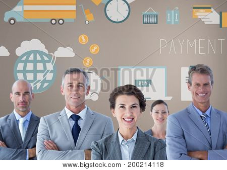 Digital composite of Group of business people in front of business graphics
