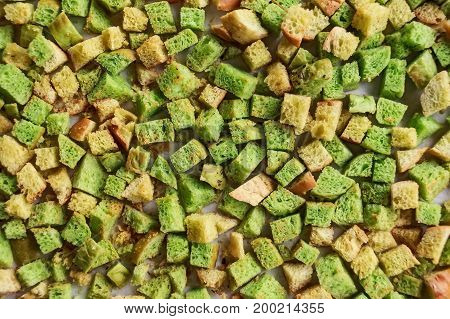 Close up green home made croutons for background texture