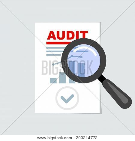 Auditing icon - magnifier on report audit concept