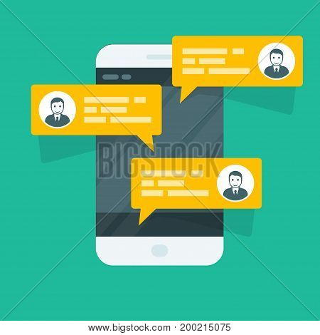 Sms texting - smartphone with chat messages