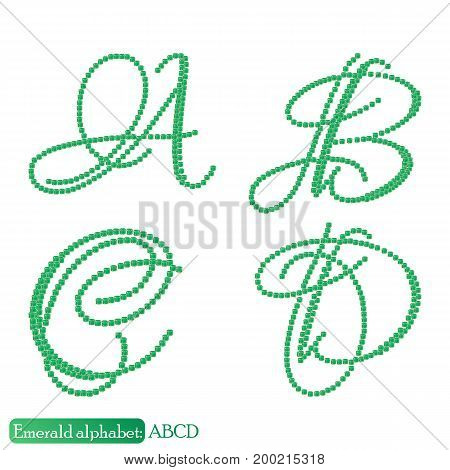 Jewelry alphabet with vintage capital letters from precious stone Emerald in realistic shapes in green color with silver edging. ABCD characters. Vector illustration