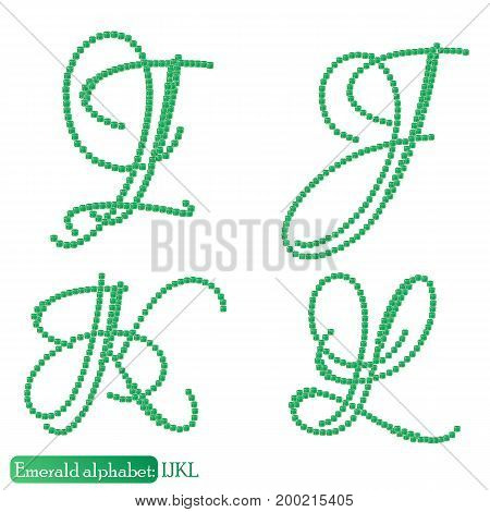 Jewelry alphabet with vintage capital letters from precious stone Emerald in realistic shapes in green color with silver edging. IJKL characters. Vector illustration