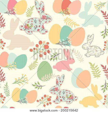 Illustration of seamless pattern with flowers bunnies and easter eggs