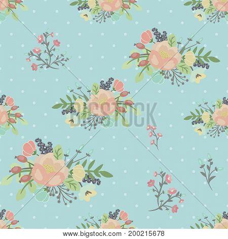 Elegant seamless pattern with flowers illustration background