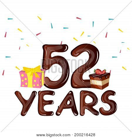 Happy Birthday fifty two 52 year greeting card. Vector illustration
