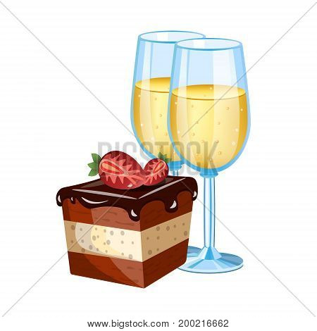 Cake with glass of champagne. Vector illustration