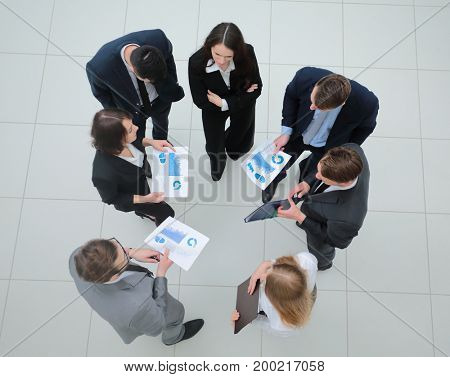 view from the top. business team with financial charts