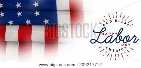 Composite image of happy labor day and god bless America text against full frame of wrinkled american flag