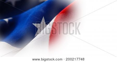 Close-up detail of wrinkled American flag
