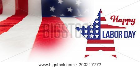 Composite image of happy labor day text and star shape American flag against full frame of wrinkled american flag