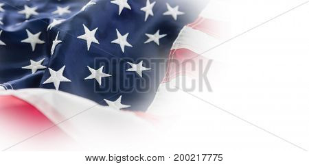 Full frame shot of wrinkled American flag
