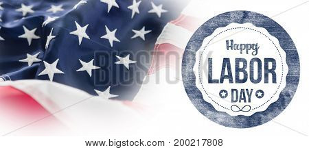 Composite image of happy labor day text on blue poster against full frame of wrinkled american flag