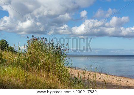 Clouds above Baltic sea shore near Kolka Latvia landscape