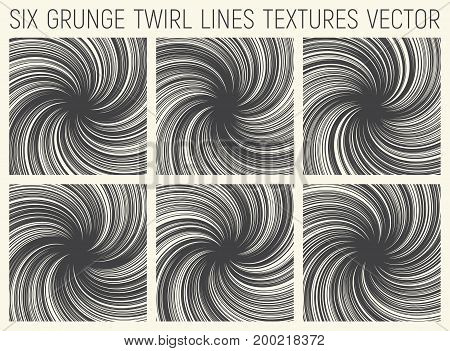 Set of Six Grunge Hand Drawn Decorative Twirl Lines Textures Vector Abstract Background