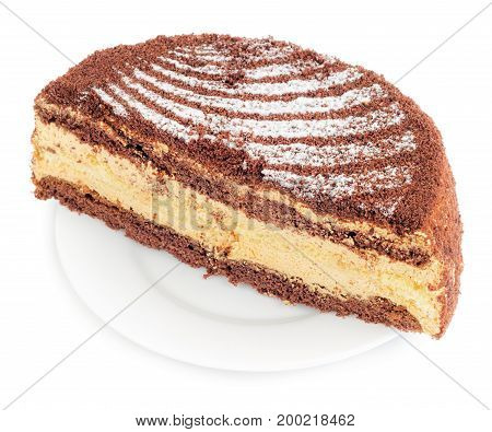 Chocolate cake cut in half in plate isolated on white background.