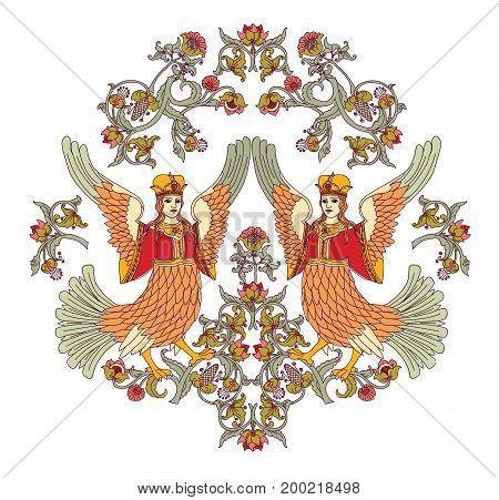 Old Slavic vintage decor ornament isolate on white. Color vector illustration. EPS8
