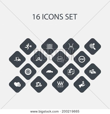 Set Of 16 Editable Complex Icons. Includes Symbols Such As Messaging, Car, Coins And More
