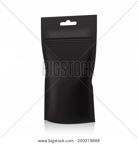 Black Foil Food Doy Pack Pouch Bag Packaging With Zipper. Isolated Vector Illustration . Mock Up, Mockup Template For Your Design