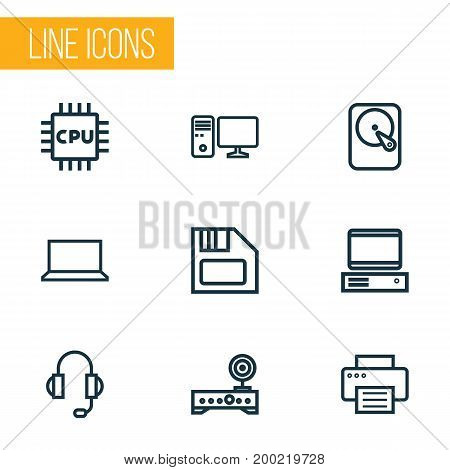 Hardware Outline Icons Set. Collection Of Computer, PC, Floppy And Other Elements