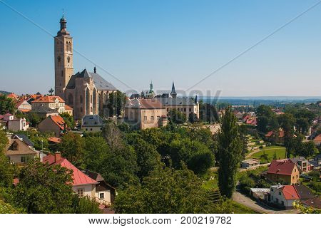 Panorama with Saint James Cathedral in Kutna Hora city, Czech Republic