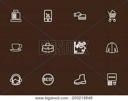 Set Of 12 Editable Trade Outline Icons. Includes Symbols Such As Woman Bag, Coffee Cup, Online Trade And More
