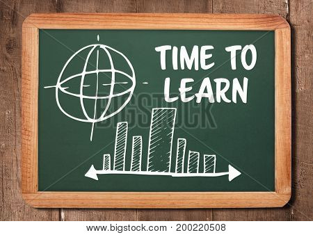 Digital composite of Time to learn text and diagrams on blackboard