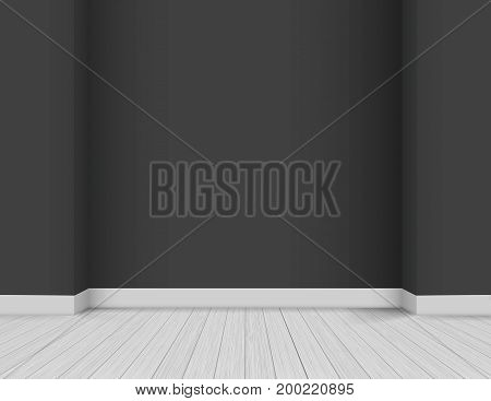 Vector Bright Modern Interior - white wooden floor and black colored wall background with corners
