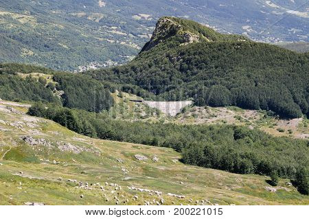 a view on mountains of Italy: the range of Appennini in tuscany