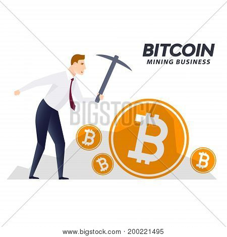 BITCOIN cryptocurrency mining concept with pickaxe business man