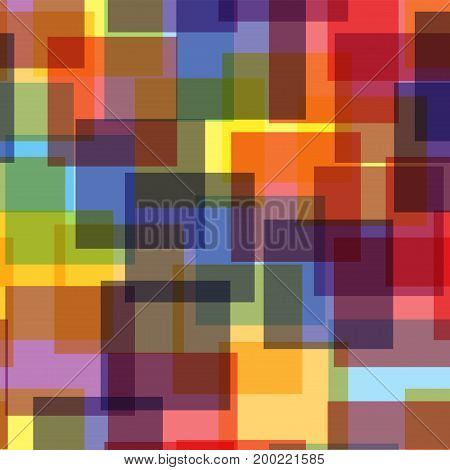 Abstract Squares Pattern. White Geometric Background. Terrific Random Squares. Geometric Chaotic Dec