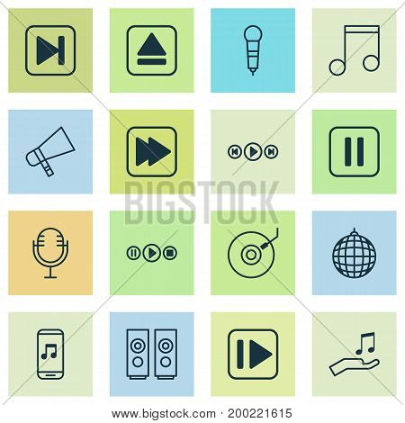 Multimedia Icons Set. Collection Of Sound Box, Following Music, Song UI And Other Elements