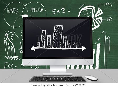 Digital composite of Incremental bar charts on computer in front of blackboard with diagrams
