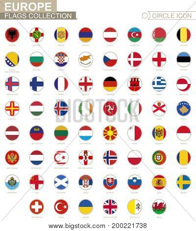 Alphabetically Sorted Circle Flags Of Europe. Set Of Round Flags.