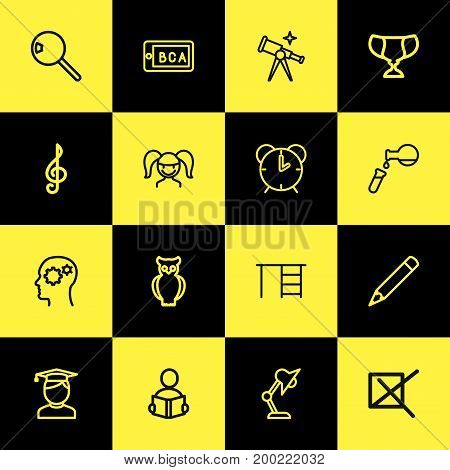Set Of 16 Editable Science Outline Icons. Includes Symbols Such As Scope, Pencil, Desk And More
