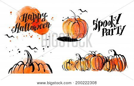 Halloween watercolor hand drawn artistic pumpkin and horror decoration elements isolated on white background collection. Good for Halloween fair banner festival poster party advertisement design.