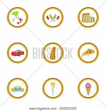 Italia icon set. Cartoon style set of 9 Italia vector icons for web isolated on white background