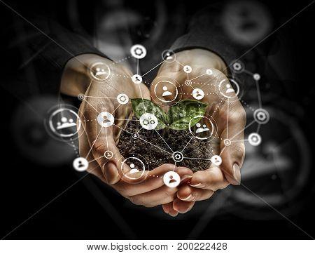 Social interaction concept . 3D render . Mixed media