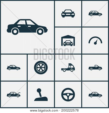 Automobile Icons Set. Collection Of Fixing, Carriage, Repairing And Other Elements