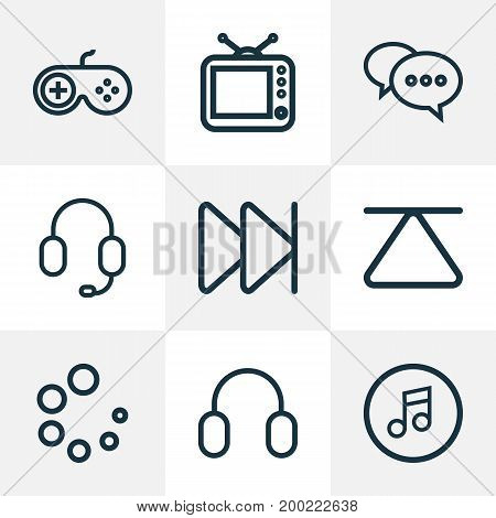 Music Outline Icons Set. Collection Of Waiting, Earmuff, Multimedia And Other Elements