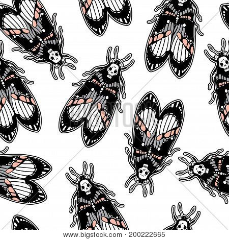 Seamless pattern with moth Dead Head. Dark classic flash tattoo style elements. Design for textiles, print in comic style. Pop art. Fashionable vintage repeating gothic vector background.