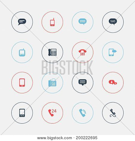 Set Of 16 Editable Device Icons. Includes Symbols Such As Call, Chat, Smartphone And More