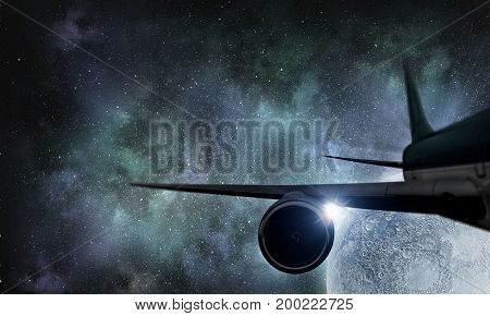 Silhouette of airplane in sky. Mixed media . Mixed media