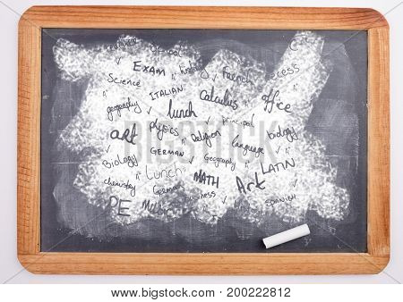 Digital composite of school subjects on blackboard