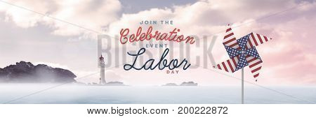 Digital composite of Celebration labor day text and USA wind catcher in front of sea and lighthouse