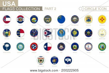 Alphabetically Sorted Circle Flags Of Us States. Set Of Round Flags.