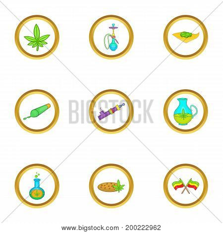 Cannabis icon set. Cartoon style set of 9 cannabis vector icons for web isolated on white background