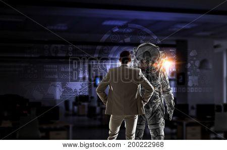 Space suit design. Mixed media . Mixed media