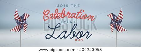 Digital composite of Celebration labor day text and USA wind catchers in front of sky